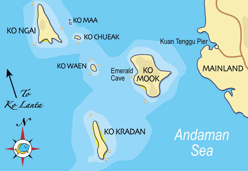 southern islands map - Thaïlande