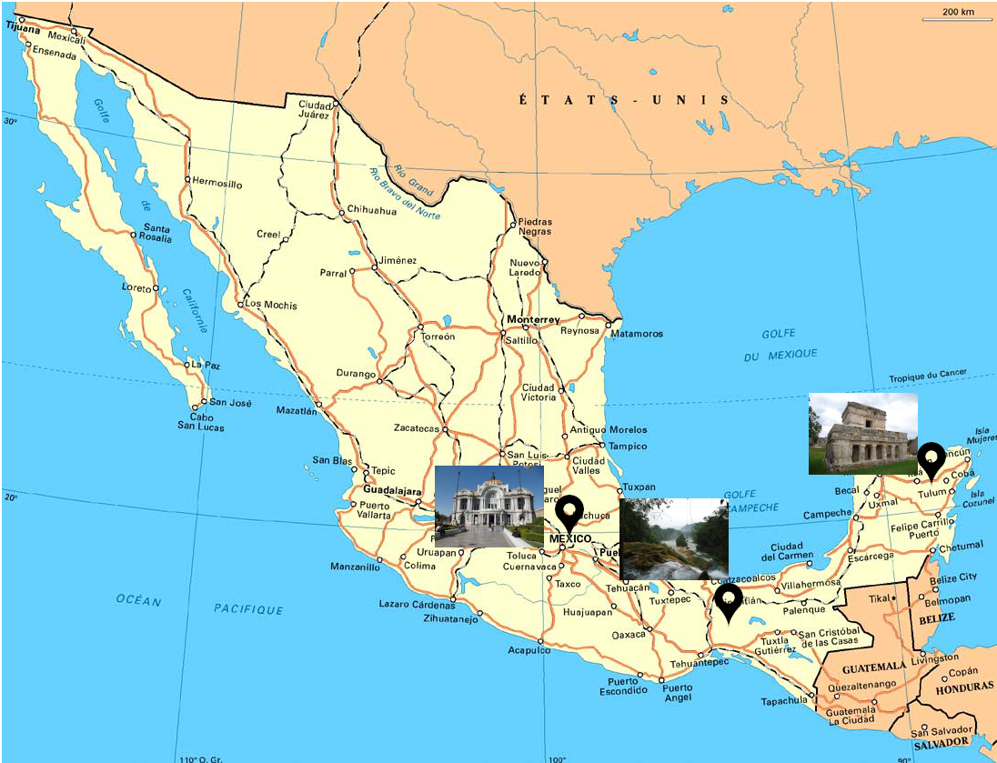 carte mexique villes 2 - Mexique