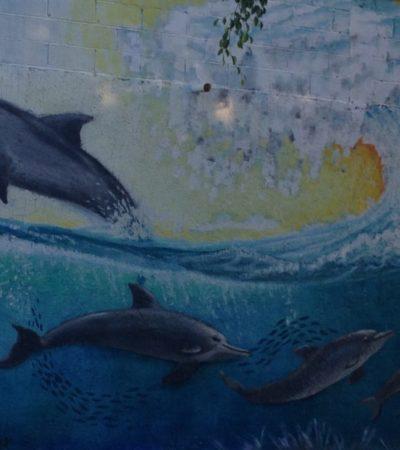 Peinture de Dauphins murale à Tulum au Mexique VoyagesPIA 1024x768 400x450 - Cancun